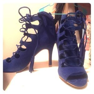 Royal blue lace up heels